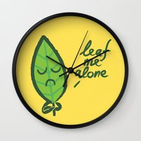 introvert Wall Clocks featuring The introvert leaf by Picomodi