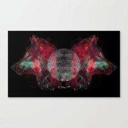 A Precipice in Front, Wolves Behind Canvas Print