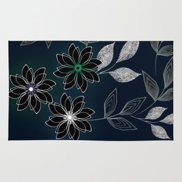 Floral pattern on dark blue background. Rug