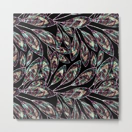 Bright stylized twigs with leaves on black background. Metal Print