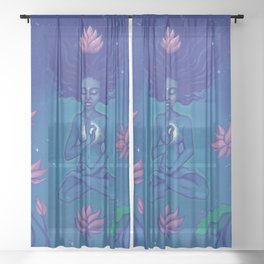 Flower of the Universe Sheer Curtain