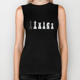All white one black chess pieces Biker Tank