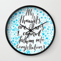 tfios Wall Clocks featuring TFIOS by IndigoEleven