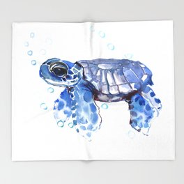 Baby Blue Turtle Throw Blanket
