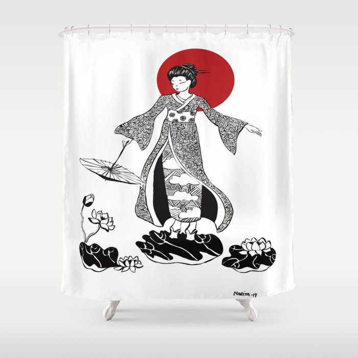Geisha Shower Curtain By Marisamarn