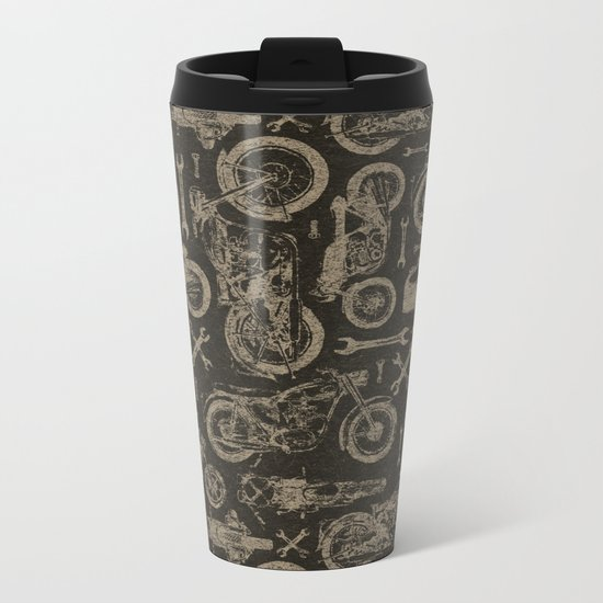 Dark Vintage Motorcycle Pattern Metal Travel Mug