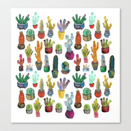 Funky Rainbow Cactus Pattern Canvas Print