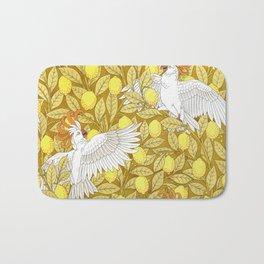 Vintage Pattern, Lemons and Birds, 1897 Bath Mat