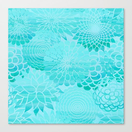 Aqua Blue Floral Flower pattern- Turquoise Abstract Flowers on #Society6 Canvas Print