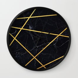 Black marble with gold lines Wall Clock