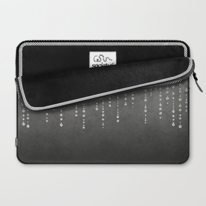 Silver Glamour Faux Glitter on grey Texture Laptop Sleeve