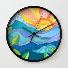 Sunset Through The Leaves Wall Clock