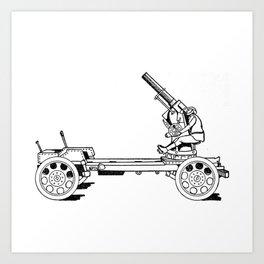 Anti-aircraft gun. Art Print