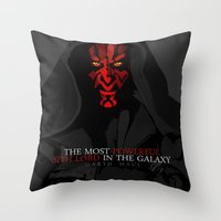 sith Throw Pillows featuring sith lord by shizoy