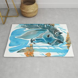 Blue Horse In The Autumn Woods Rug