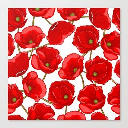 cute red poppies Canvas Print