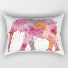 Artsy watercolor Elephant bright orange pink colors Rectangular Pillow