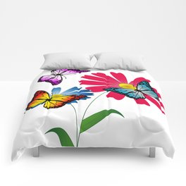 Colorful butterflies and flowers Comforters