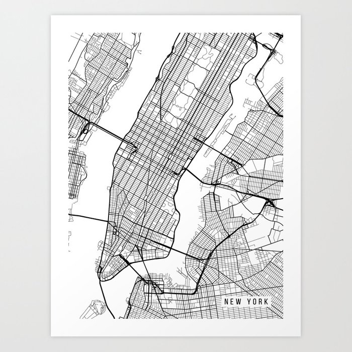 Map Of Usa New York City.New York City Map Manhattan New York Usa Black White Portrait Art Print