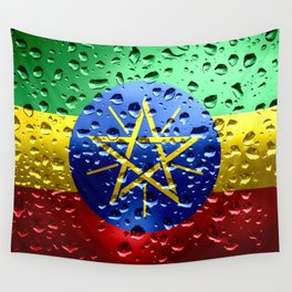 Flag of Ethiopia - Raindrops Wall Tapestry