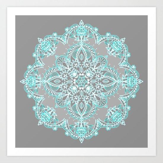 Teal And Aqua Lace Mandala On Grey Art Print By Micklyn
