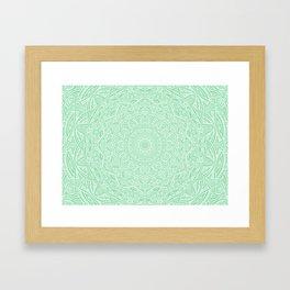 Most Detailed Mandala! Mint Green Color Intricate Detail Ethnic Mandalas Zentangle Maze Pattern Framed Art Print