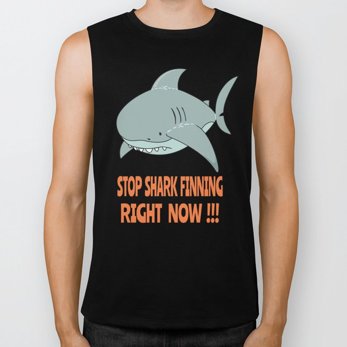 Stop shark finning Biker Tank