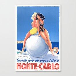 1948 Monte Carlo Bathing Beauties Monaco Travel Poster Canvas Print