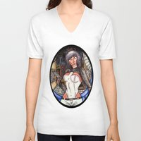 ghost in the shell V-neck T-shirts featuring Motoko Kusanagi from Ghost in the Shell by Jazmine Phillips
