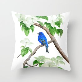 Royal Blue-Indigo Bunting in the Dogwoods by Teresa Thompson Throw Pillow