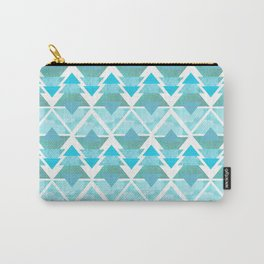Ice Blue Geometric Forest Carry-All Pouch