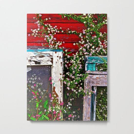 Window Flowers Metal Print