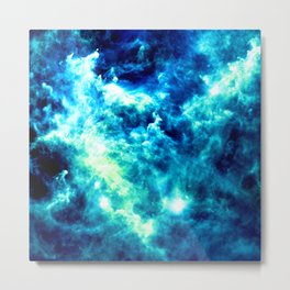 stormy nebula clouds turquoise blue Metal Print