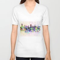 vienna V-neck T-shirts featuring Vienna skyline in watercolor background by Paulrommer