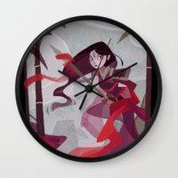mulan Wall Clocks featuring Mulan by Ann Marcellino