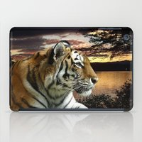 novelty iPad Cases featuring Sunset Tiger by Moody Muse
