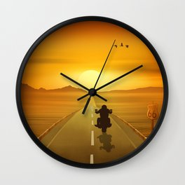 Biker On Route 66 Wall Clock