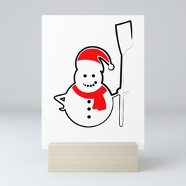 Rowing Santa Snowman Mini Art Print