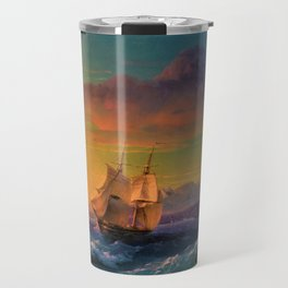 Ship at Sunset off of Cape Martin by Ivan Aivazovsky Travel Mug