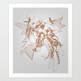 Bronze Animal Skull Abstract Vector Art Art Print