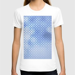 White polka dots on serentiy blue with bokeh texture T-shirt