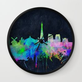 Paris skyline waterolor 2 Wall Clock