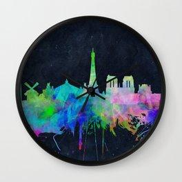 Paris skyline waterolor 2 Wall Clock