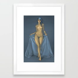 The girl with the blue sheet Framed Art Print