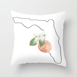 florida // watercolor orange blossom state flower map Throw Pillow