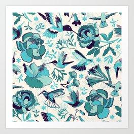 Hummingbird summerdance, Blue Art Print
