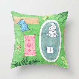 Green Tiled Bath drawing by Amanda Laurel Atkins Throw Pillow