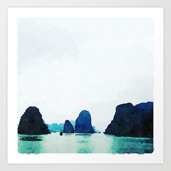 Twilight in Halong Bay Art Print