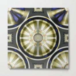 Pinwheel Hubcap in Sepia Metal Print