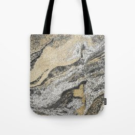 Vintage chic black gold yellow abstract marble Tote Bag